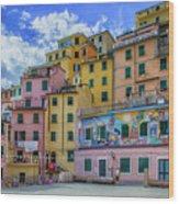 Joy In Colorful House In Piazza Di Riomaggiore, Cinque Terre, Italy Wood Print