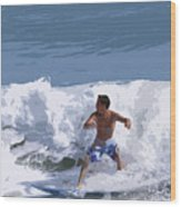 Joy Of Surfing - Two Wood Print