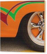 Joy Ride - Street Rod In Orange, Red, And Green Wood Print
