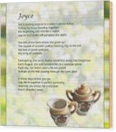 Joyce Poem Wood Print