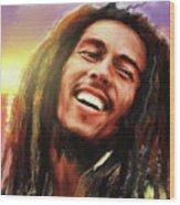 Joyful Marley  Bob Marley Portrait Wood Print