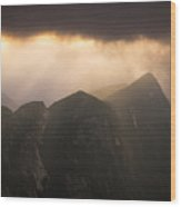 Sun Shining Through The Storm Clouds In The Mountains Wood Print