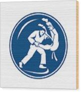 Judo Combatants Throw Circle Icon Wood Print