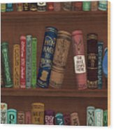 Jugglin' The Books Wood Print