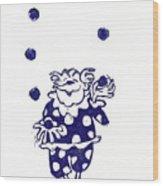 Juggling Clown Wood Print