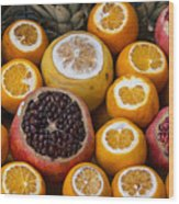 Juice Stand Fruits Wood Print