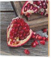 Juicy Ripe Pomegranates On Vintage Wood  Wood Print