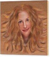 Julorobani - Julia Roberts Portrait Wood Print