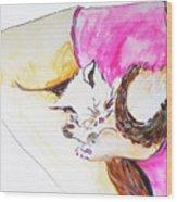 July Kitty In Rachaels Lap Wood Print