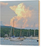 July Sky Over A Maine Harbor Wood Print