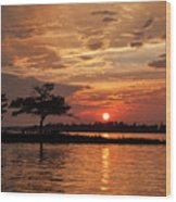 July Summer Sunset At Detroit Point Wood Print