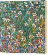 Jumbled Up Wildflowers Wood Print