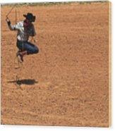 Jump Rope Cowboy Style Wood Print
