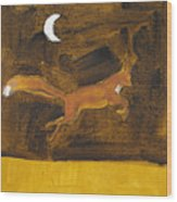 Jumping Fox And The Moon Wood Print
