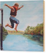 Jumping In The Waccamaw River Wood Print