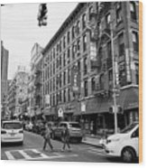 junction of bayard street and mulberry street chinatown New York City USA Wood Print