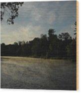 June Mississippi River Misty Dawn Wood Print