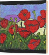 June Poppies Wood Print