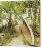 Jungle Canoe Wood Print