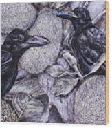 Jungle Crows On Jackfruit Wood Print