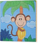 Jungle Monkey Wood Print
