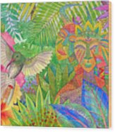 Jungle Spirits And Humming Bird Wood Print