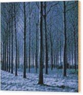 Jungle Trees In Blue  Wood Print