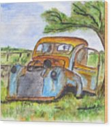 Junk Car And Tree Wood Print