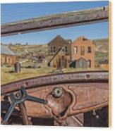 Junk Car Window View Wood Print