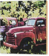 Junked Fire Engines Wood Print