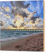Juno Beach Pier Florida Sunrise Seascape D7 Wood Print