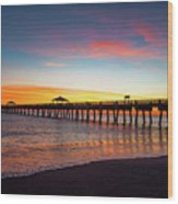 Juno Pier Colorful Sunrise Wood Print