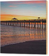 Juno Pier Colorful Sunrise Panoramic Wood Print