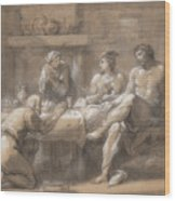 Jupiter And Mercury In The House Of Baucis And Philemon Wood Print