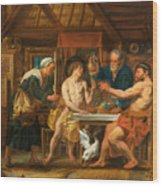 Jupiter And Mercury In The House Of Philemon And Baucis Wood Print