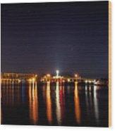 Jupiter Florida  Inlet Lighthouse At Night Wood Print