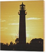 Jupiter Lighthouse Golden Sunrise Wood Print