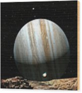 Jupiter Seen From Europa Wood Print by Don Dixon