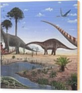 Jurassic Dinosaurs, Artwork Wood Print