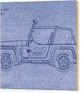 Jurassic Park Jeep Blueprint Wood Print