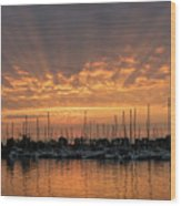 Just A Sliver Of The Sun - Sunrise God Rays At The Marina Wood Print