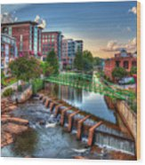 Just Before Sunset 2 Reedy River Falls Park Greenville South Carolina Art Wood Print
