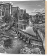 Just Before Sunset B W Reedy River Falls Park Greenville South Carolina Art Wood Print