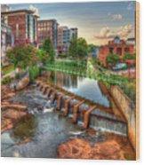 Just Before Sunset Reedy River Falls Park Greenville South Carolina Art Wood Print