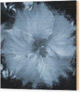 Blue Hibiscus Floral Portrait Wood Print