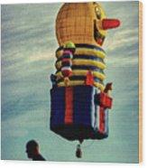 Just Passing Through  Hot Air Balloon Wood Print by Bob Orsillo