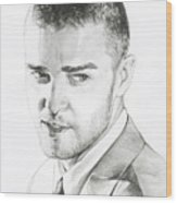 Justin Timberlake Drawing Wood Print by Lin Petershagen