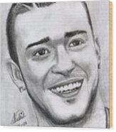 Justing Timberlake Portrait Wood Print