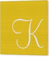 K In White Simple Script Wood Print