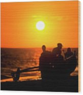 Kaanapali Beach Outrigger Sunset Wood Print